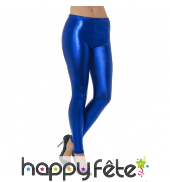 Legging bleu effet métallique