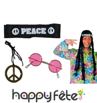 Lunettes, bandeau et collier peace and love