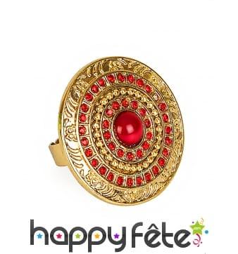 Large bague romaine ronde dorée et rouge