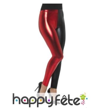 Legging bicolore rouge et noir effet métallique