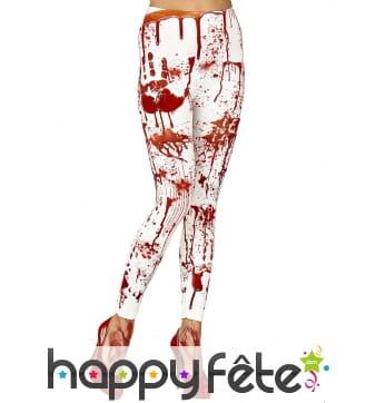 Legging blanc tâché de sang pour femme