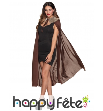 Longue cape aspect satin et fourrure pour femme
