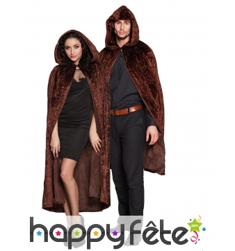 Longue cape aspect velours marron pour adulte