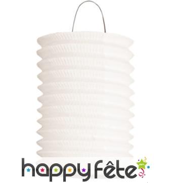 Lampion cylindrique blanc de 16 cm