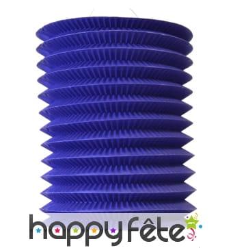 Lampion cylindrique bleu de 16/26 cm