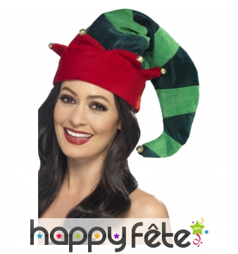 Long chapeau de lutin de Noël