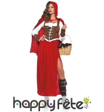 Long costume de chaperon rouge style médiéval