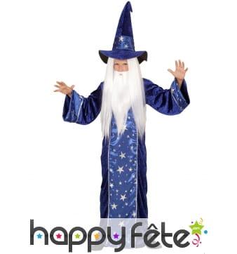 Long costume de magicien bleu étoilé pour enfant