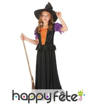 Long costume de petite sorcière noire et orange