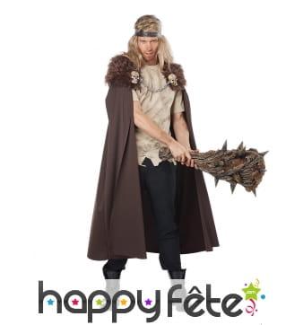 Longue cape de Viking marron avec fausse fourrure