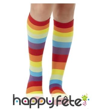 Longue chaussettes de clown multicolores, enfant
