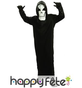 Long costume noir de squelette pour enfant
