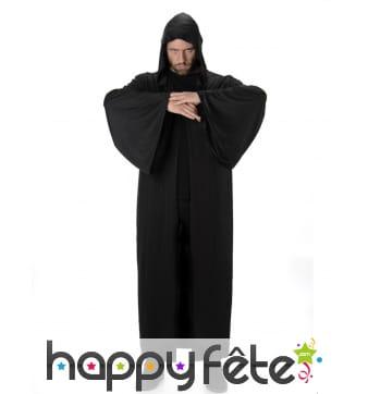 Longue cape noire à capuche pour homme