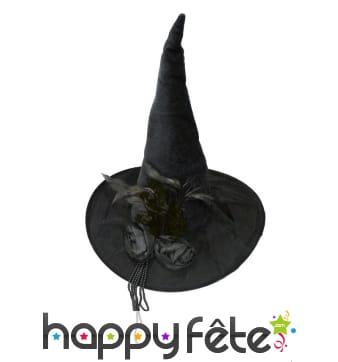 Luxueux Chapeau noir pointu de sorcière