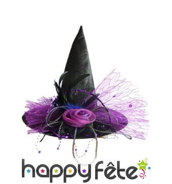 Luxueux chapeau pointu de sorcière violet