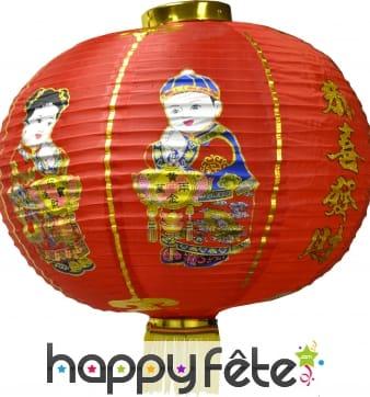"Lanterne chinoise rouge ""Bonne chance"""