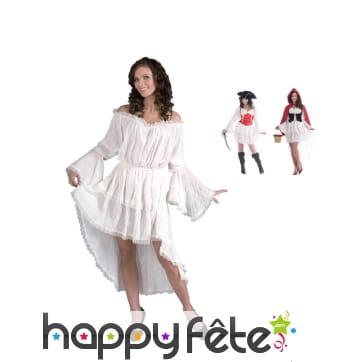 Longue chemise robe blanche en dentelle