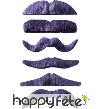 Lot de 12 moustaches grises auto-adhésives