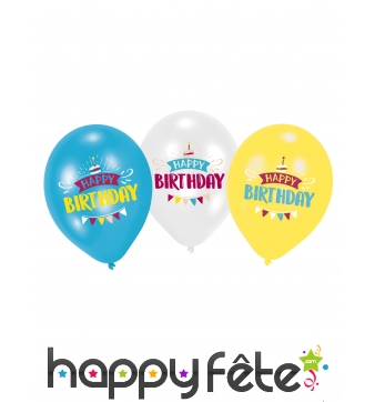 Lot de 6 ballons Happy Birthday de 27,5 cm