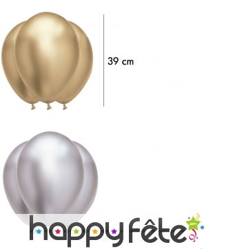 Lot de 6 Ballons satinés, 39 cm