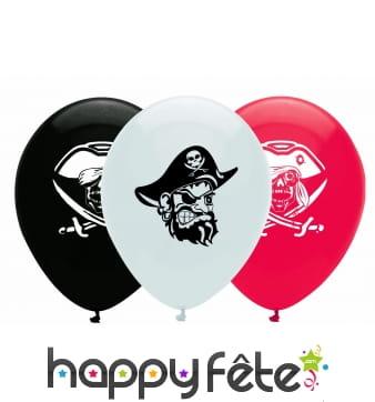 Lot de 6 ballons thème pirate