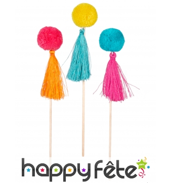 Lot de 6 pompons colorés sur pic