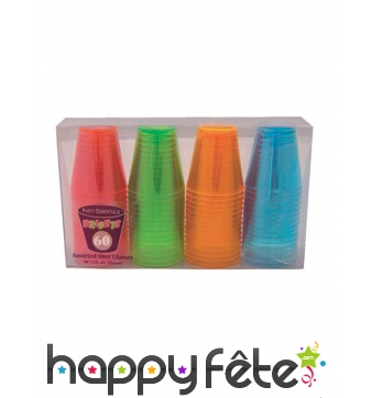 Lot de 60 verres shooter en plastique coloré