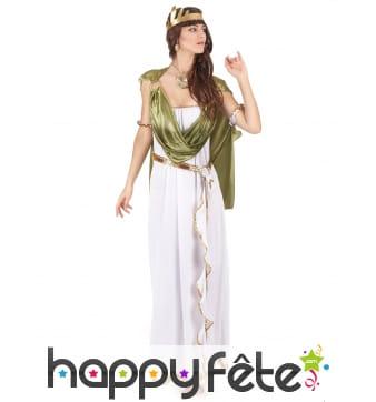 Long déguisement blanc de déesse, toge verte