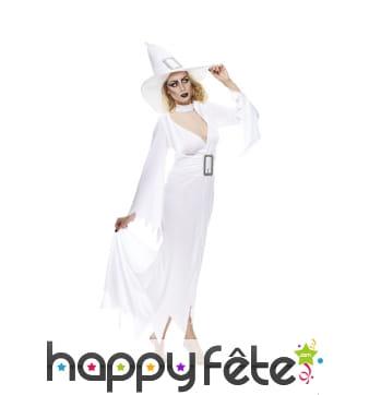Long déguisement blanc de sorcière