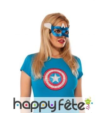 Loup de Captain America métallisé pour femme