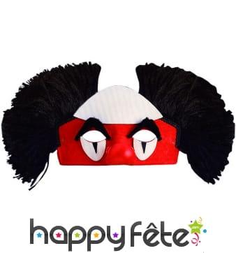 Loup de clown avec cheveux noir