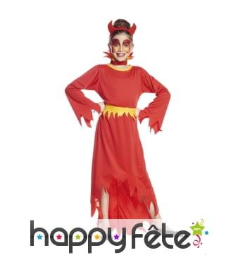 Long déguisement de diablesse rouge pour fille