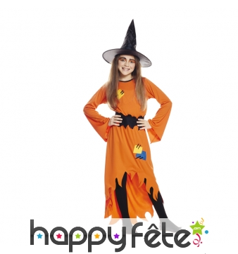 Long déguisement de sorcière orange pour fille