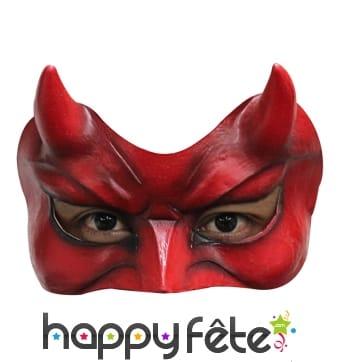 Loup de diable rouge avec corne, en latex