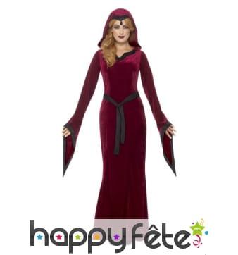 Long déguisement médiéval rouge de vampiresse
