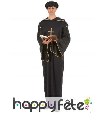 Long déguisement noir et doré de religieux