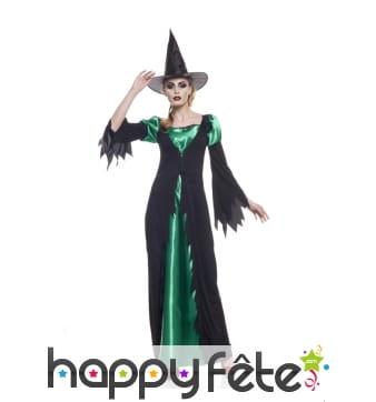 Long déguisement noir et vert de sorcière
