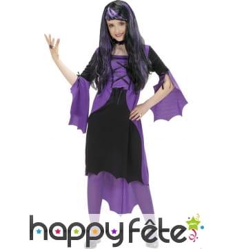 Long déguisement violet noir de petite vampire