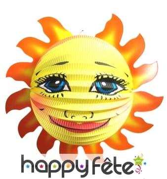 Lampion en forme de soleil avec visage