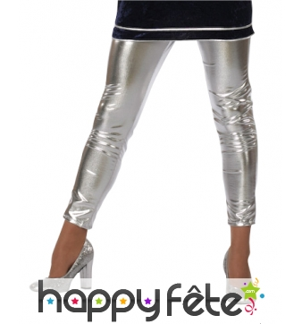 Leggings en simili argent