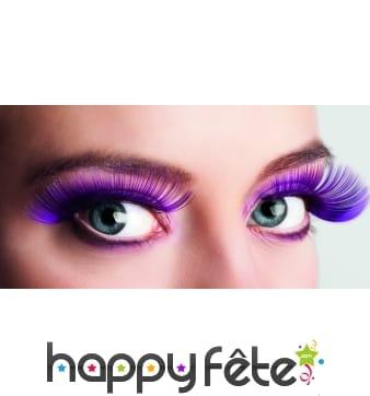 Longs faux cils violets, auto-adhésifs