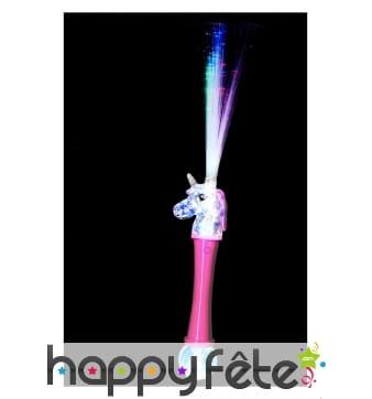 Licorne fibres optiques, rose et bleue