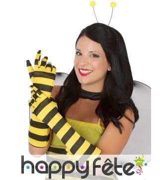 Longs gants abeille rayés pour femme