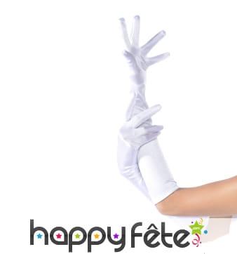 Longs gants blancs élastiques satinés