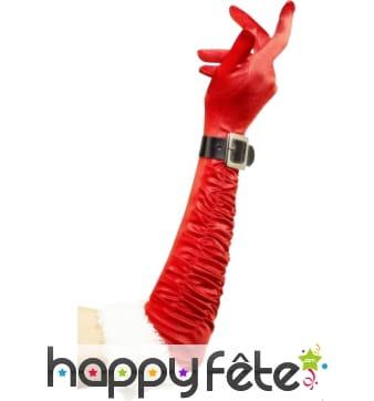 Longs gants de noel rouge et blancs avec boucle
