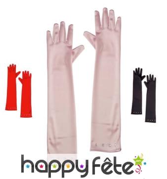 Longs gants décorés de strass pour enfant