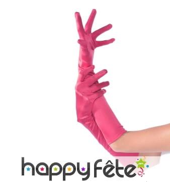 Longs gants élastiques rose fuchsia, satinés