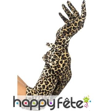 Longs gants imprimé léopard 50 cm