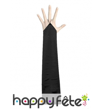 Longs gants noirs sans doigts