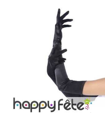 Longs gants noirs stretch de 58cm